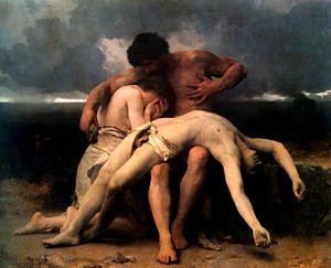 Abel hallado muerto por Adán