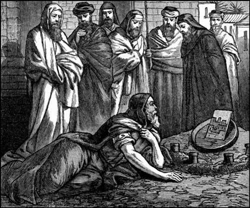 Israelitas viendo cómo Ezequiel representaba la destrucción de Jerusalén