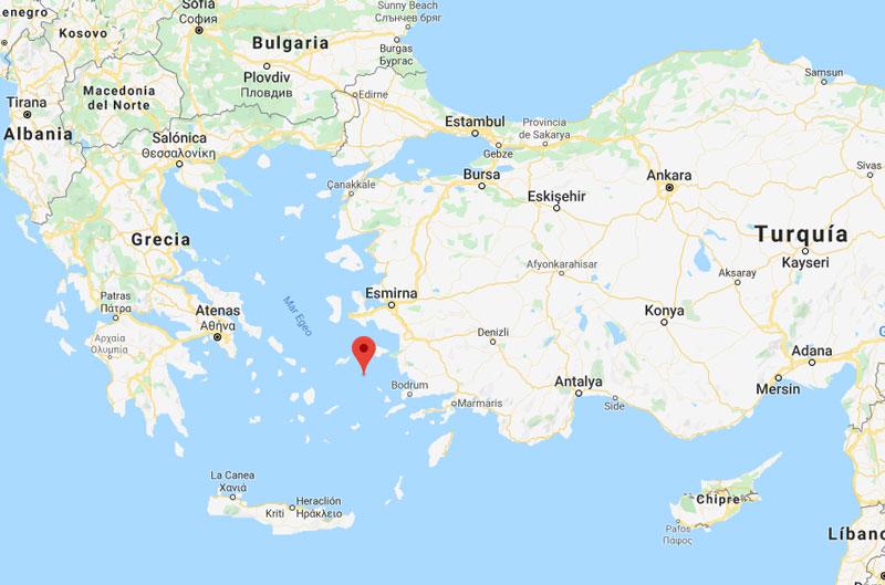 Mapa de la Isla de Patmos